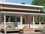 Дом в американском стиле с двумя односкатными кровлями