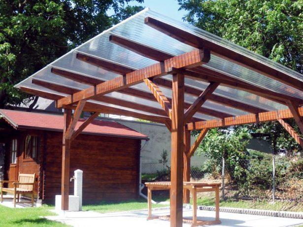 Устройство односкатной крыши из поликарбоната для беседки