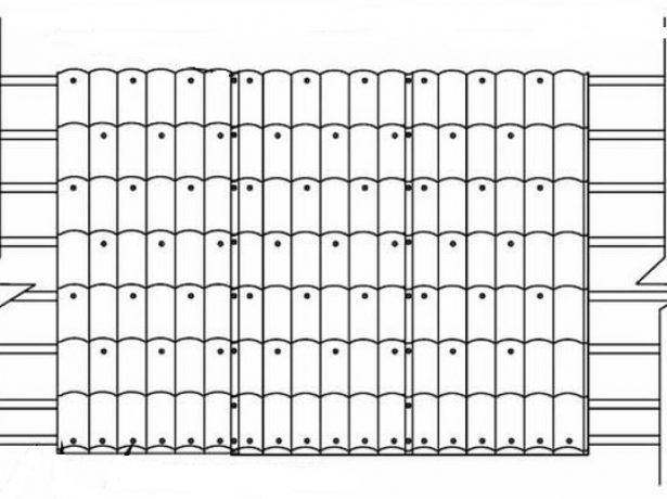 Схема крепления листов металлочерепицы к обрешётке