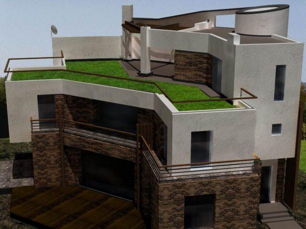 Дом с плоской эксплуатируемой крышей