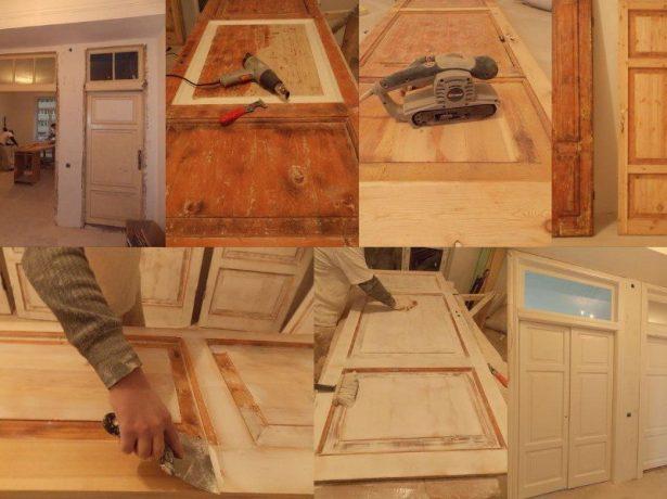 Шлифование поверхности деревянной двери