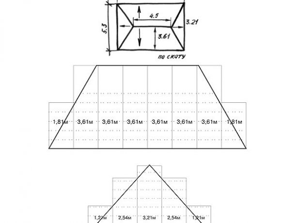 Схема расчёта металлочерепицы «Монтеррей»