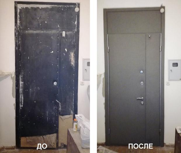 Как красиво обновить металлическую дверь фото