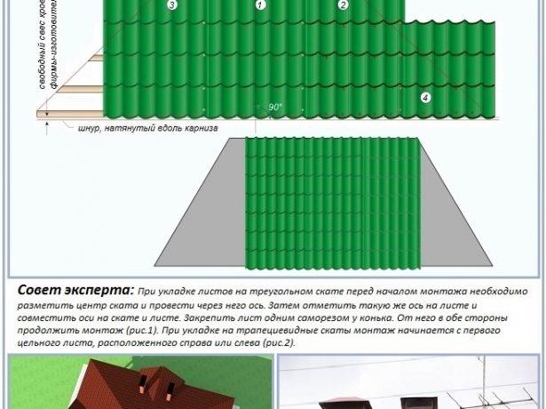 Монтаж кровельного покрытия вальмовой крыши