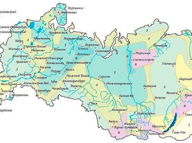 Карта расчётных значений снегового покрова по регионам