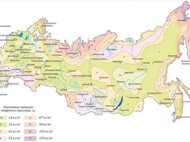 Карта ветровых нагрузок по регионам
