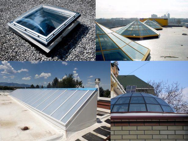 Разные виды конструкций зенитного фонаря на крышах