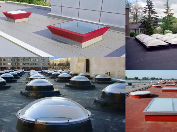 Точечные зенитные фонари на плоских крышах