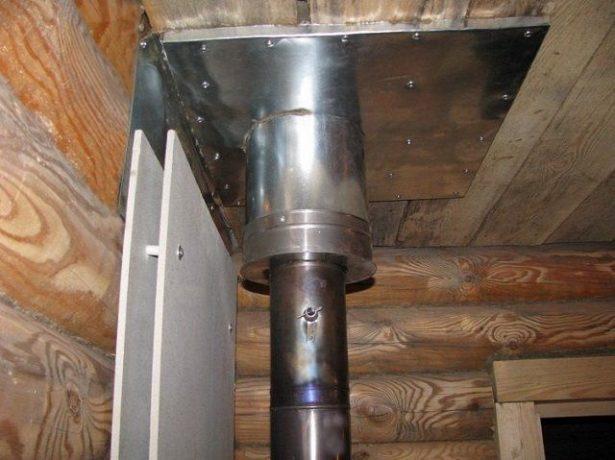 Выведение печной трубы через потолок