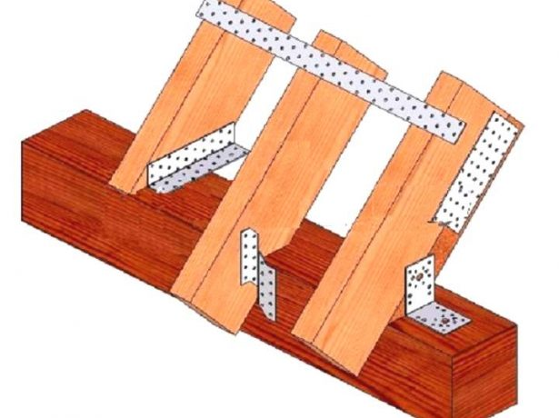 Схема фиксации стропила и опорного бруска