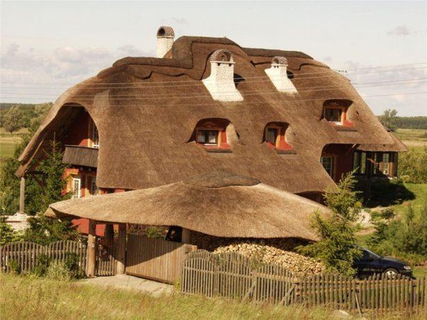 Дом с крышей из камыша