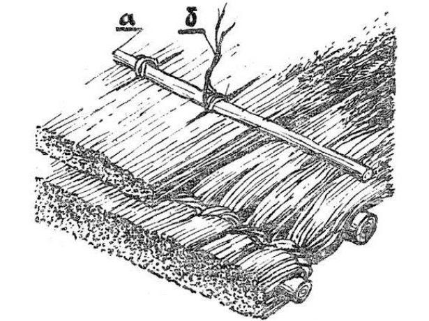 Крепление второго ряда камыша