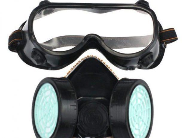 Респиратор и очки