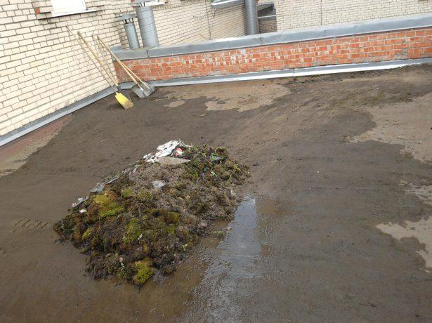 Очистка крыши от мусора