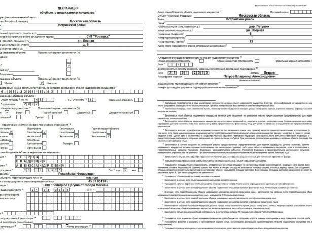 Образец заполнения декларации об объекте недвижимого имущества