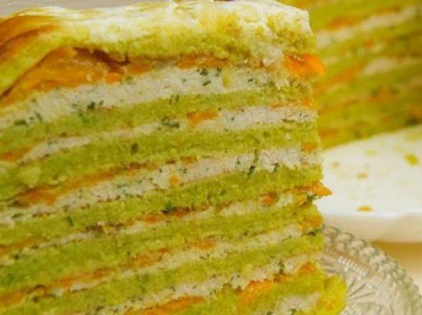 Кабачковый торт с фаршем