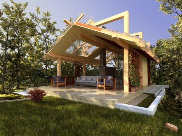 Кухня из дерева с прозрачной крышей из пластика