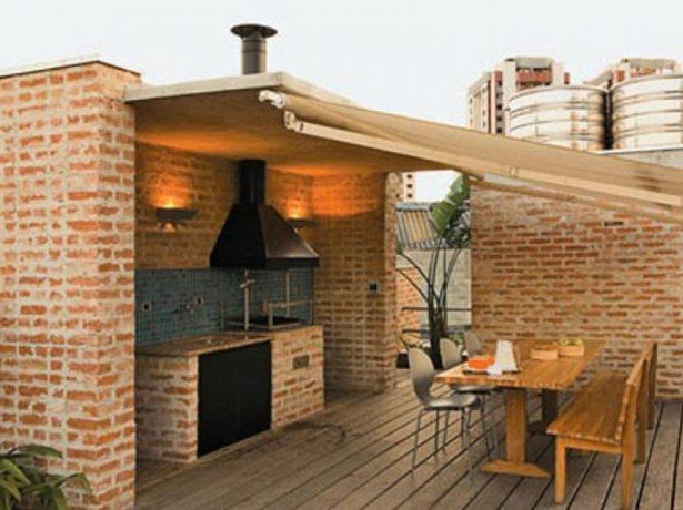 Летняя кухня на веранде небоскрёба